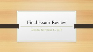 Weekly chat session Final Exam Review